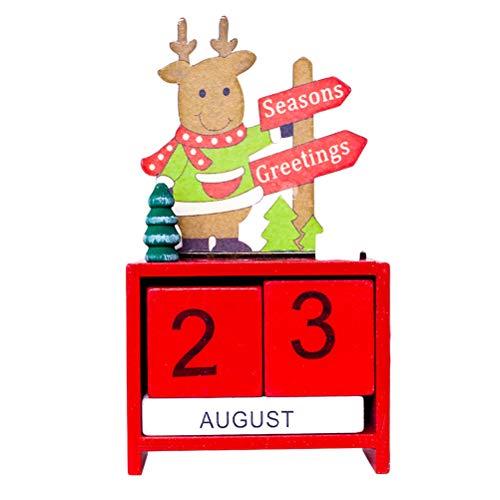 Toyvian Adventskalender Holz Würfel Rentier Seasons Greetings Countdown Dauerkalender Weihnachten Tisch Deko (Rot)