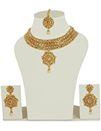 MUCH MORE 22k Golden Polished Work Charming Brass Made Polki Necklace Set For Women