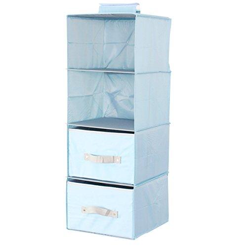 4 Lagerung Cubbies (sivin klappbar zum Aufhängen Kleiderschrank Aufbewahrung Regale mit zwei Schubladen für Kleidung, Hüte, Pullover, Schals, Bücher, Badetuch, Geldbörse, Gläser, Make-up, T-Shirts, Mikrofaser, Pure Blue, 30*30*7cm)