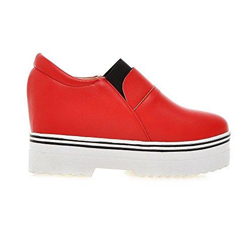 AllhqFashion Damen Ziehen Auf Rund Zehe Hoher Absatz Pu Leder Rein Pumps Schuhe Rot