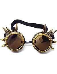 Gafas Steampunk de Calidad Ultra Superior Cibernéticas Estilo Punk Victoriano Soldadura Cosplay Gótico Remache Rústico o Spike Vintage Novedad Rave Redonda
