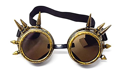 (Ultra Gold mit Braunen Premium Qualität Steampunk Brille Cyber Brille Viktorianischen Punk Stil Schweißen Cosplay Gothic Goth Rustikale Rivet Vintage Runde Rave Neuheit)