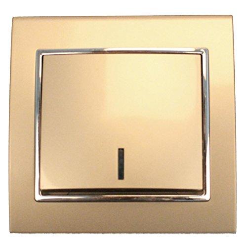 Unterputz Lichtschalter beleuchtet champagner/silber 10 A, 250 V -