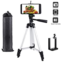 Vicloon Camera Phone Tripod, 42 Inch Lightweight Aluminum iPhone Tripod, Travel Tripod for Cellphone and Camera + Universal Smartphone Tripod Holder Mount + Carrying Bag