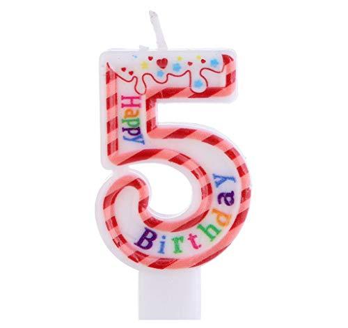 Kaalido Bunte Zahlenkerze für Geburtstag Hochzeit Events Jubiläum Torte Cupcake Muffins & Kuchen (Bunt 5)