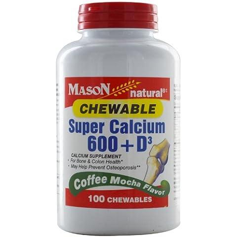 El calcio súper 600 + D3 masticable, Café Mocha Sabor - Vitaminas Mason