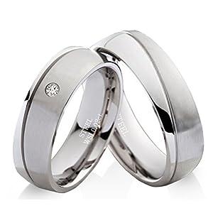 frencheis Eheringe Verlobungsringe Trauringe aus Edelstahl mit Diamant und Ringe Gravur EDB19