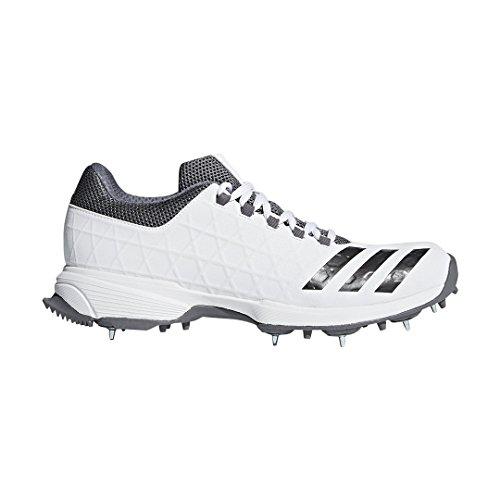 ADIDAS SL22 FS II da Uomo Adulto Cricket Trainer Spike Scarpa Bianco/Grigio