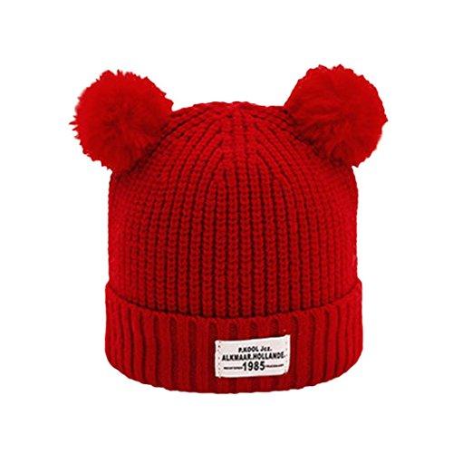 URSING Kinder Ball Kappe Brief Warm Winter Hüte Gestrickt Wolle Hemming Baby Mädchen Jungen Klassischer Einfarbig Pelzkugel gestrickt Hüte & Mützen 36-48cm (Rot)