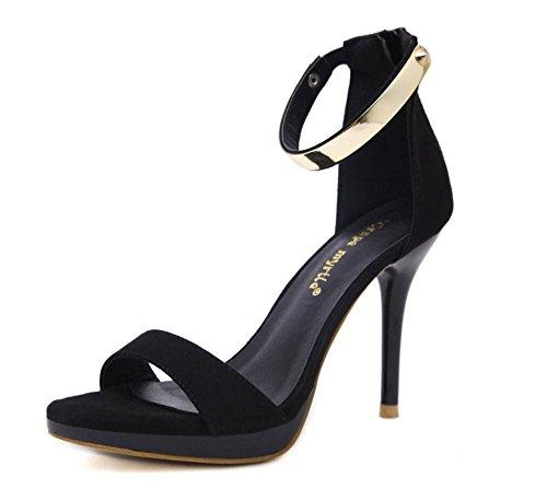 SHINIK Frauen Open Toe Sandalen Fine High Heel Wasserdichte Tisch Wölbung Büro Schuhe Pumpe Schwarz Blau Schwarz