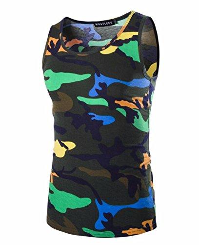Men's Camouflage Fine Designer Casual Sleeveless Vest Tee ink green Camouflage