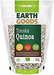 Earth Goods Organic Tricolor Quinoa, NON-GMO, Gluten-Free, Good Fiber Source 340g