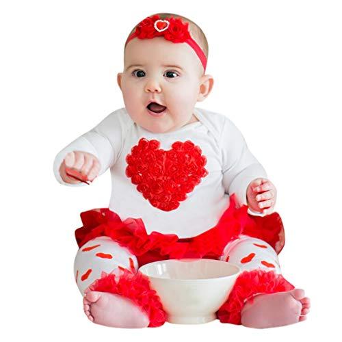 Baby Mädchen Herz Print Valentine Strampler DREI Stück Kleidung Set Langarmshirts Tutu Kleid Lange Hosen Outfit-Set ()