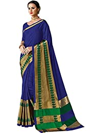 Sarees For Women Sarees New Collection Sarees For Women Latest Design Women's Blue Color Cotton Silk Jacquard...