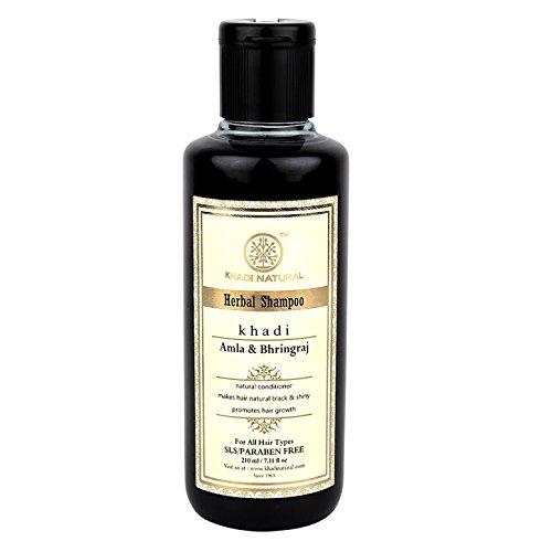 Khadi Herbal Amla and Bhringraj Shampoo SLS & Paraben Free  , 210ml (for Hair Growth)
