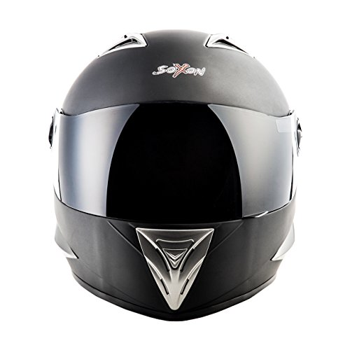 SOXON ST-550 Fighter · Integral-Helm Scooter-Helm Urban Motorrad-Helm Roller-Helm Cruiser Sport Helmet Sturz-Helm · ECE zertifiziert · inkl. Sonnenvisier · inkl. Stofftragetasche · Schwarz · XS (53-54cm) - 3