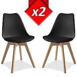 Pack 2 sillas Lucia Negro, pata madera y asiento acolchado, estilo nórdico
