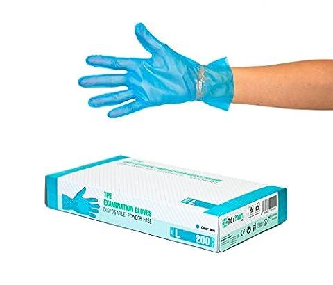 TPE Handschuhe 200 Stück Box (L, Blau) Einweghandschuhe, Einmalhandschuhe, Untersuchungshandschuhe, TPE Handschuhe, puderfrei, ohne Latex, unsteril, latexfrei, disposible gloves, black, Large
