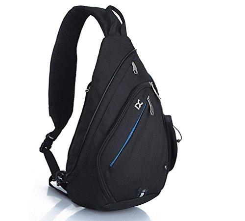 EGOGO Multifunktions Schultertasche Rucksack Crossbody Tasche Sling Tasche Wandern Dackpack ein sollte Schultergurt für Männer und Frauen (Black) (Sling Tasche)
