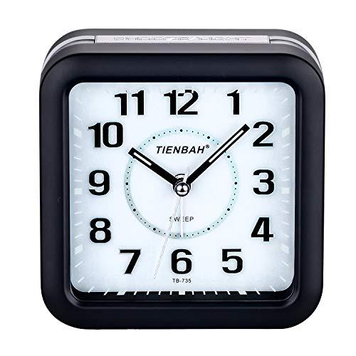PINGHE Wecker, Leise Analoger Wecker Quadratische Form Nachttisch Alarm Wecker mit Nachtlicht Schwarz