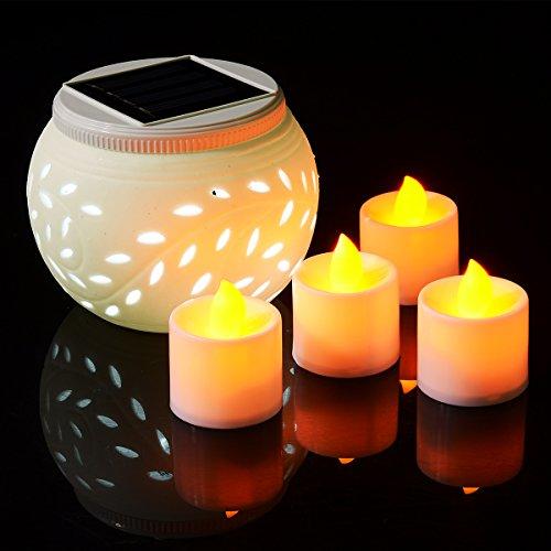 Xcellent Global Lampe de Table Solaire Décorative en Céramique à LED, Couleurs changeantes, avec 4 Bougies Chauffe-Plat Jaune ambré à LED LD033