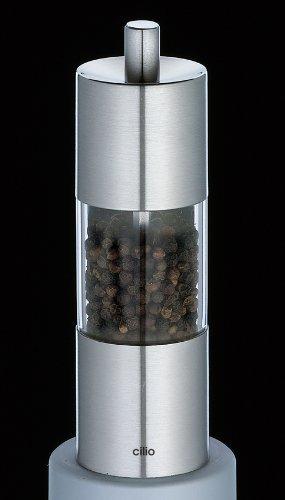 Topgourmet Cilio Parma Moulin à poivre en acier inoxydable et acrylique Finition effet brossé 15 cm