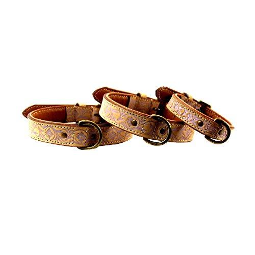 MICHUR CREEK, Hundehalsband, Lederhalsband, Halsband, BEIGE, LEDER, fliederbarbene Stanzungen, in verschiedenen Größen erhältlich - 3