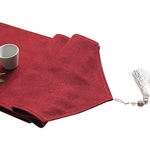 WYQ Roter Tischläufer, Baumwollleinwand Vintage Design Dekor Ideal, Tischläufer für Familienessen, Zusammenkünfte, Partys, täglicher Gebrauch (6 Größen sind verfügbar) Tischläufer