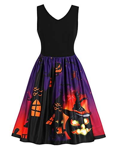 FeelinGirl Damen Kleider Langarm midi sexy Blumen festlich elegant Sommer Minikleid Halloween Retro A-Linie Party Cocktail und Kostüm