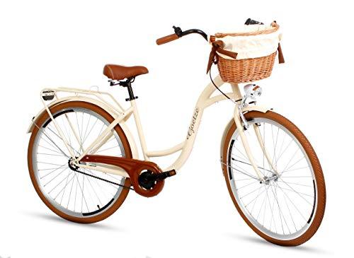 Goetze Colours 28 Zoll Damen Citybike Stadtrad Damenfahrrad Damenrad Hollandrad Retro-Design Korb Hinterradbremse LED-Beleuchtung Beige-Braun