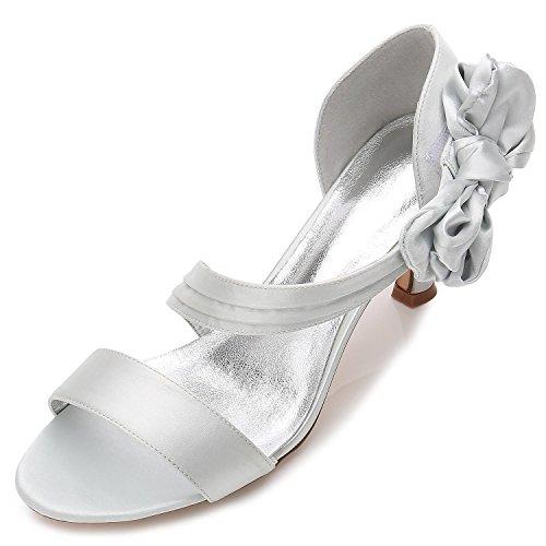 L@YC Damen-Hochzeits-Schuhe R17061-50 Offene Zehe-Grundlegende Pumpen-Elastische Mittlere Schmetterlings-Brautschuhe, silver, 39