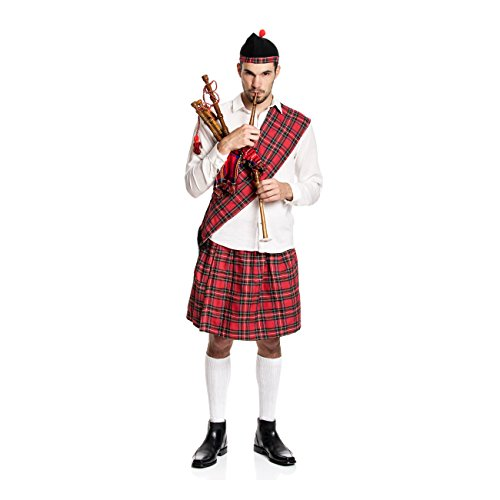 Kostümplanet® Schotten-Kostüm Herren Kilt + Mütze + Schärpe Schotte Faschings-Kostüm große Größe 48/50 (Schotte Kostüm)