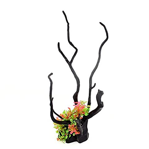 DealMux Keramik-Basis Kunststoff Pflanze Unterwasser Aquarium Baum Wurzel Ornament