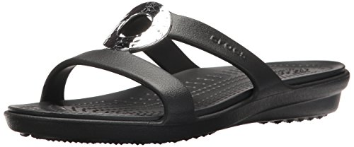 Crocs Leichte Sandalen (crocs Sanrah Hammered Metallic Sandal Women, Damen Sandalen, Schwarz (Black/Black), 38-39 EU)