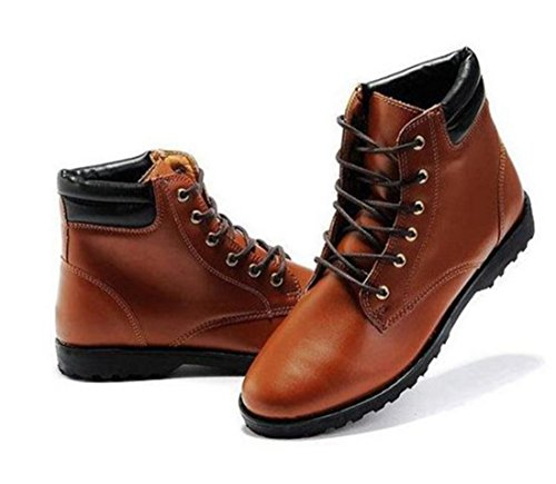 Men Fashion Solid Korean Style PU Riding Boots brown