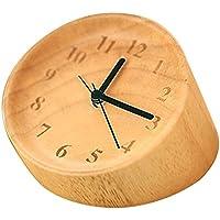 Skitic Handmade Creatuve Legna Alarm Clock - Classic Silenzioso Tondo Snooze Scrivania Capezzale Wood Sveglia, (1.5 Pvc Slittamento)