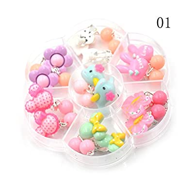 TOYZHIJIA 7 Pairs Cartoon Clip on Earrings Girls Princess Jewelry Earring with Earrings Pads in Box,Style Random