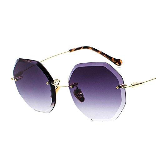 Axiba Kein Frame Gradient Ozean Sonnenbrille europäischen und amerikanischen Big Frame Schatten Spiegel Mode Metall kleine Rahmen acht-seitige Sungl Esel Kreatives Geschenk