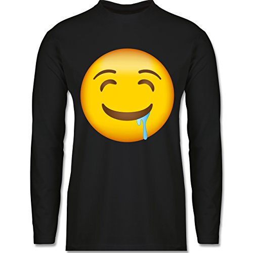 Shirtracer Comic Shirts - Emoji Wasser IM Mund - Herren Langarmshirt Schwarz