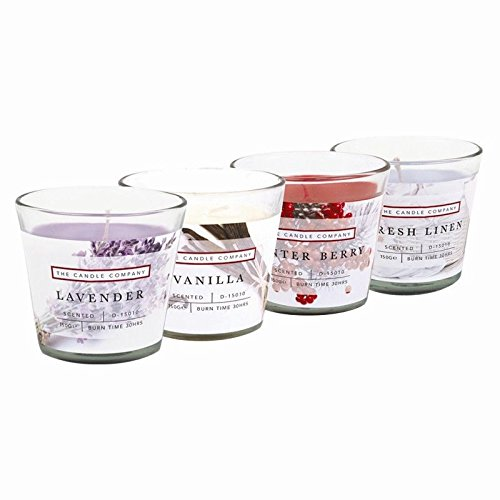 Leinen Duftkerze (Invero® 4x Satz von Duftkerzen im Glastopf mit Lavendel, Winterbeeren, frischen Leinen und Vanille-Düften Ideal für die Küche oder die Arbeit)