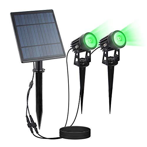 Phadap Solar-Strahler, solarbetriebene Sicherheitslichter, IP65, wasserdicht, für den Außenbereich, automatische An-/Aus-Funktion, Wandleuchte für Garten, Terrasse, Auffahrt, Teich, Deck. (Grün)