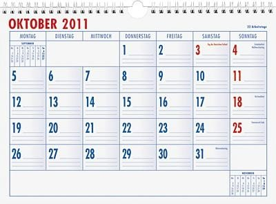 Monatsterminkalender 989-29 x 21 cm, 1 Monat / 1 Seite