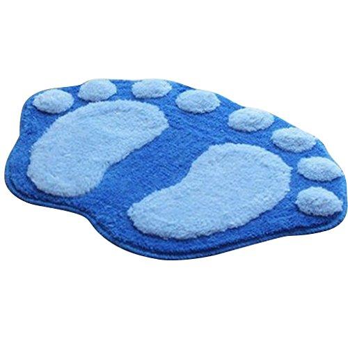 Blesiya Stile di Impronta Piedi Forma Shaggy Morbido Soffice Tappeto Moquette Ridurre Affaticamento Cinque Tappetino Pad - Blu