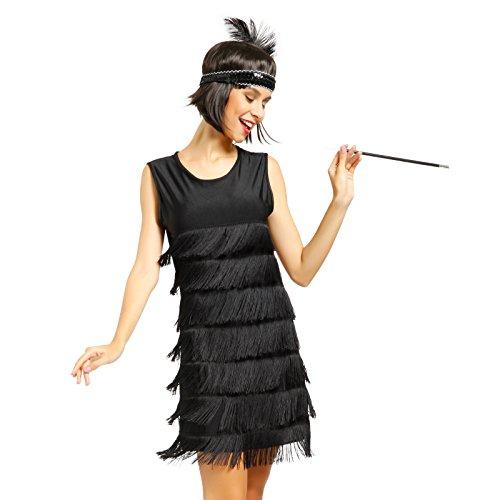 Imagen de maboobie  lady cosplay disfraz de charleston lujo chicago 1920s 1930s vestido con flecos color negro rojo para mujer l 36 38 , negro