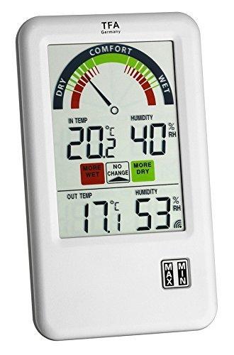 TFA Dostmann Funk-Thermo-Hygrometer Bel-Air 30.3045 (Silber mit Batterien)