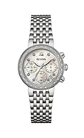 Bulova Ladies Women's Designer Chronograph Diamond Watch - Stainless Steel Bracelet Mother Of Pearl Dial