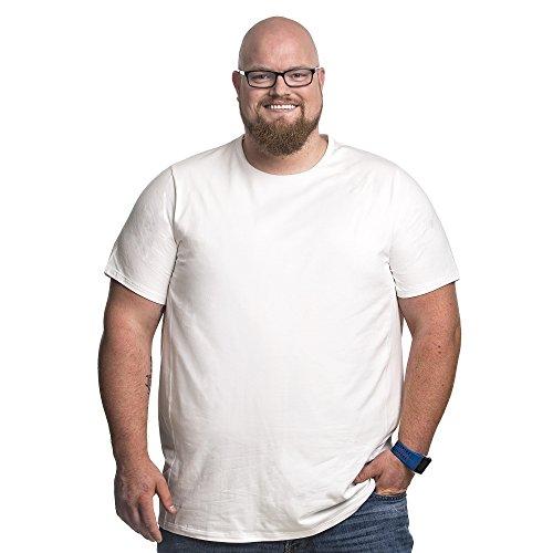 Alca Fashion T Shirt Herren Rundhals Doppelpack Basic - 2 Stück Übergrößen bis 8XL Für Männer mit Übergröße Bauchumfang (7XL-B, Weiß)