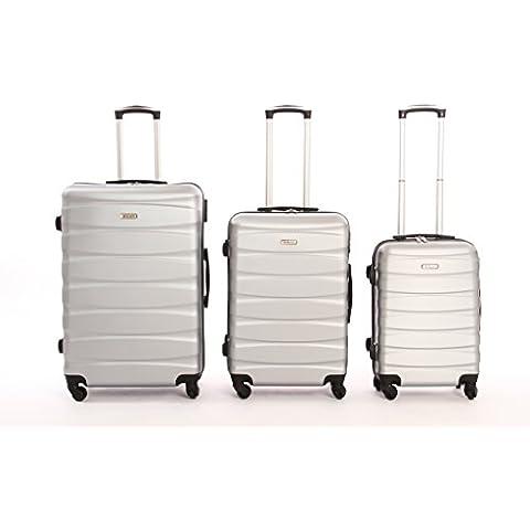 set de 3 piezas valige trolly ABS y policarbonato con 4 ruedas pivotantes 360 grados ° varios colores