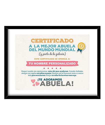 latostadora - Cuadro Certificado A la Mejor Abuela Cuadro con Marco Negro Horizontal 4:3 (40 x 30 cm)