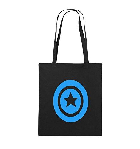 Comedy Bags - CAPTAIN AMERICA - Jutebeutel - lange Henkel - 38x42cm - Farbe: Schwarz / Silber Schwarz / Blau